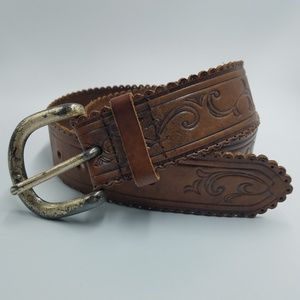 Express Scalloped Tooled Leather Adjustable Belt